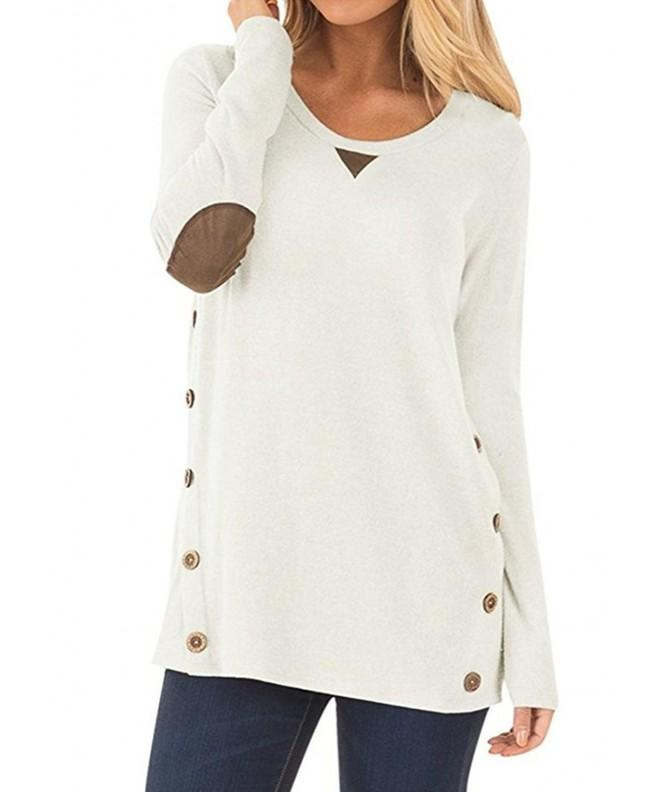 NICIAS Buttons Patched Sweatshirt Blouses