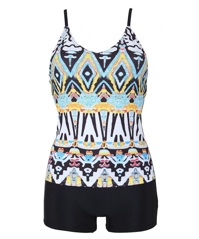Printed Tankini Boyshort Swimsuit Bathing