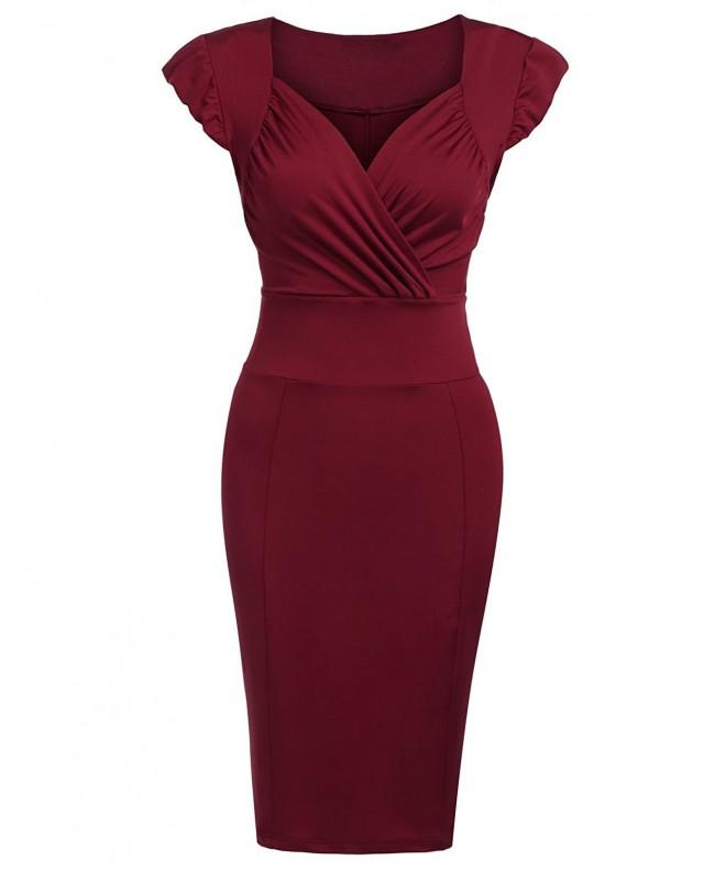 Elesol Summer Sleeve Bodycon Burgandy