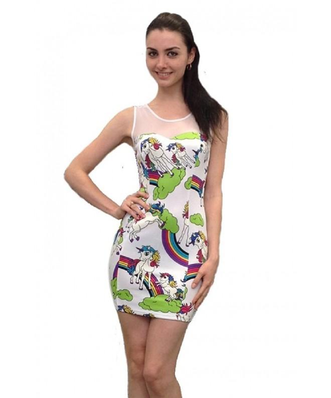 Unicorn Print Multicolored Sleeveless Bodycon