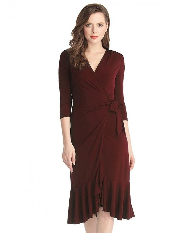 Grapent Womens Burgundy Surplice Neckline
