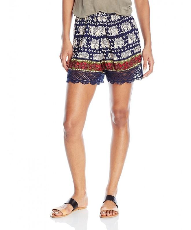 Angie Womens Printed Trimmed Shorts