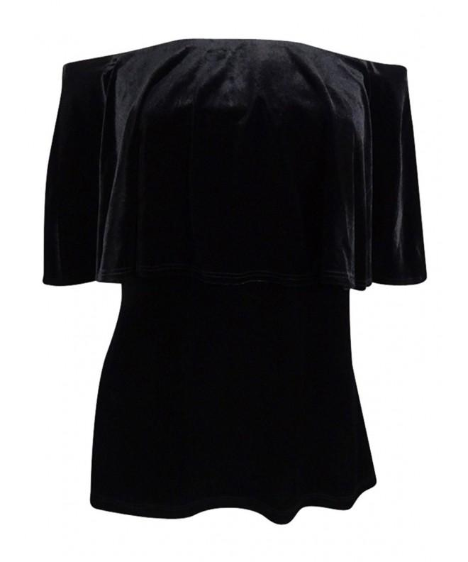 MSK Womens Velvet Shoulder Blouse