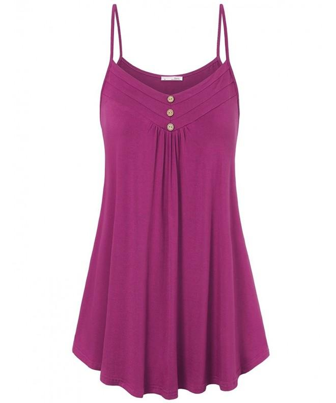 Messic Womens Sleeveless Pleated Magenta