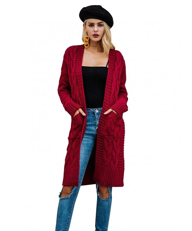 Simplee Cardigan Sweater Pockets Burgundy