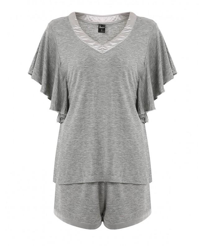 Suzicca Womens V Neck Sleepwear Sleeve