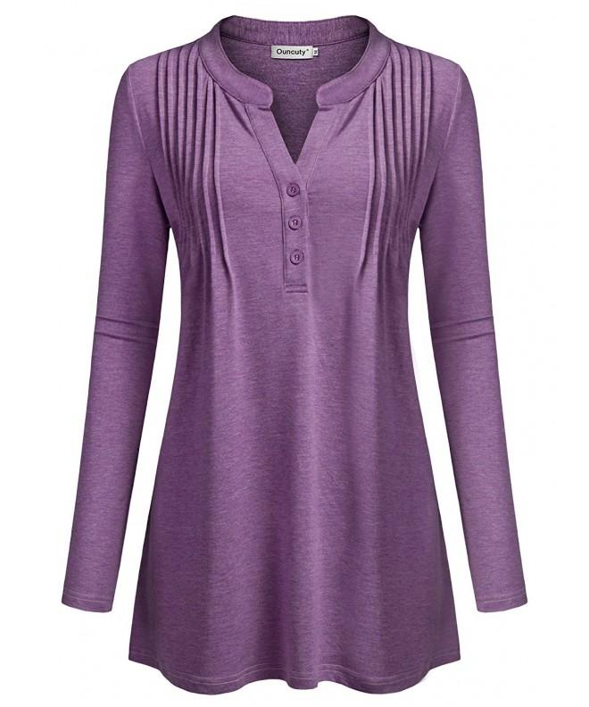 Ouncuty Sleeve Purple Blouses Casual