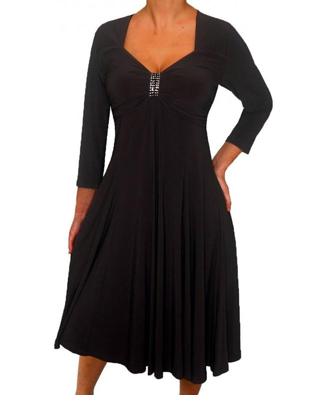 Funfash Women Sleeves Black Dress