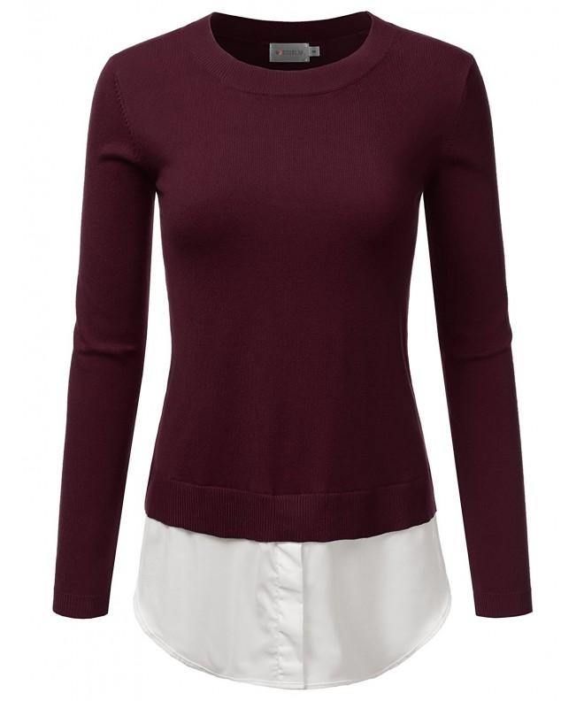 Doublju Sleeve Layered Sweater BURGUNDY