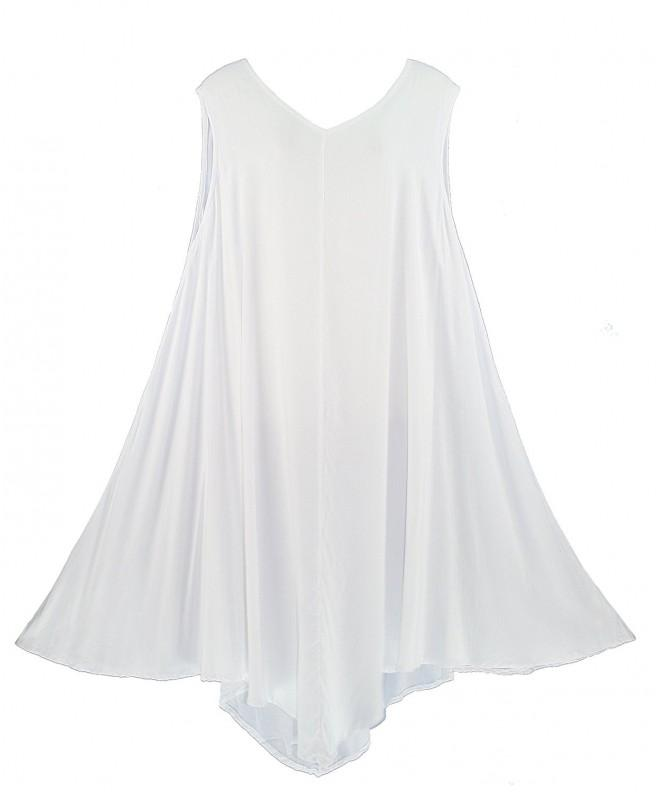 Beautybatik White Solid Sleeveless Lagenlook