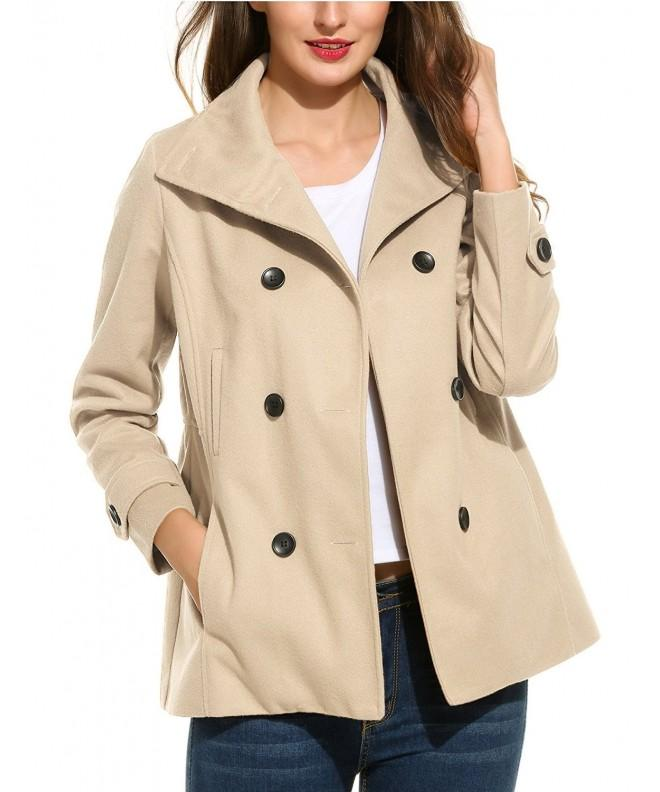 Finejo Womens Peacoat Breasted Overcoat