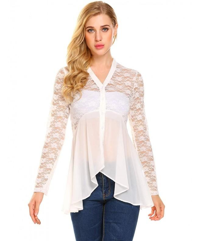 Yhlovg Womens Blouse Button Chiffon