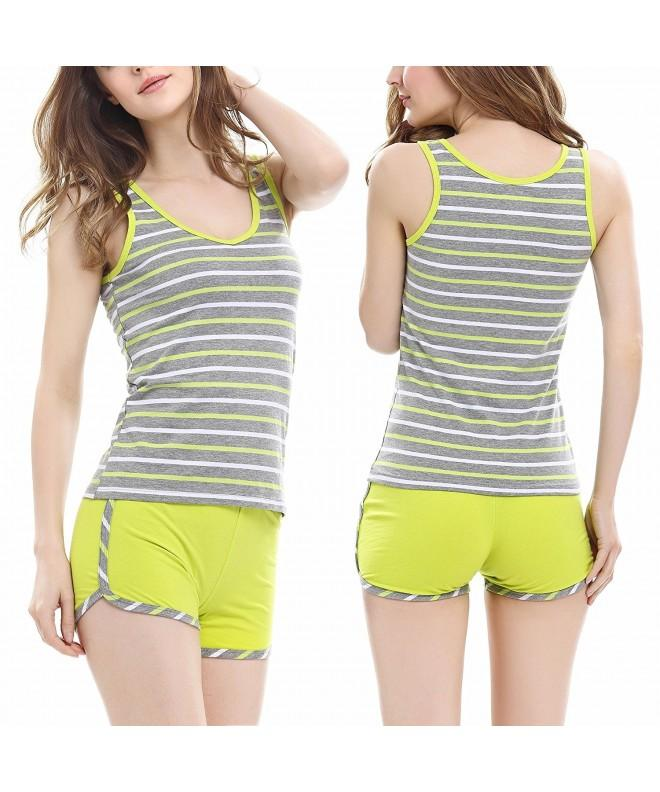 Aoymay Pajamas Round Neck Sleepwear Striped