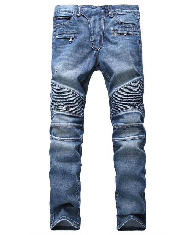 Straight Tapered Biker Jeans Pants