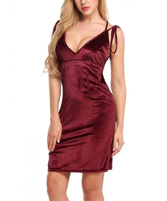 ACEVOG Spaghetti Backless Bodycon Evening