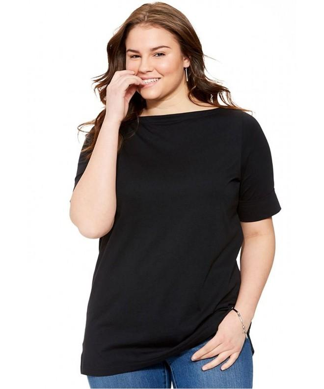 Womens Perfect Boatneck Cuffed Sleeves