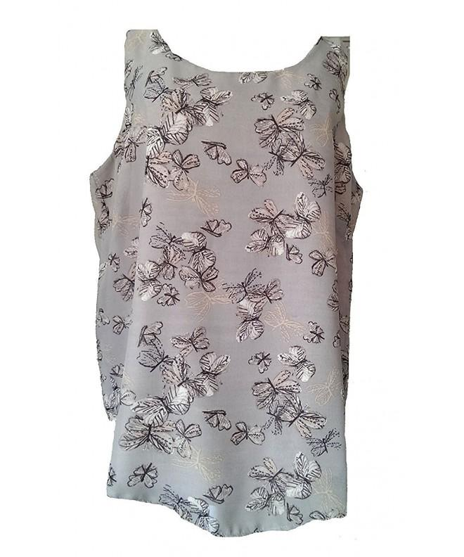 Sleeveless Taupe Tunic Fully Butterfly