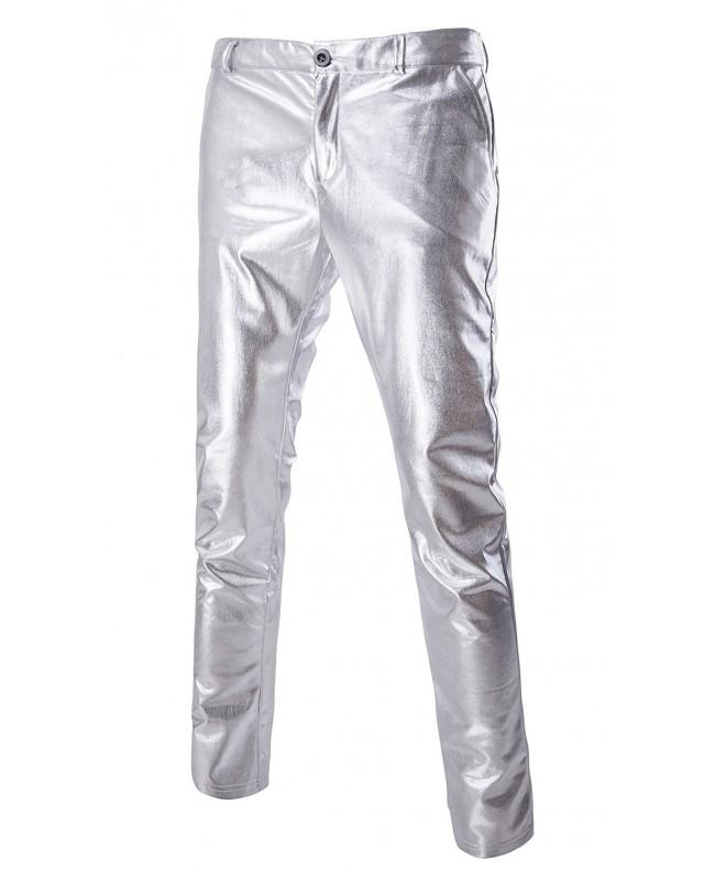 Skinny Metallic Leather Medium Silver