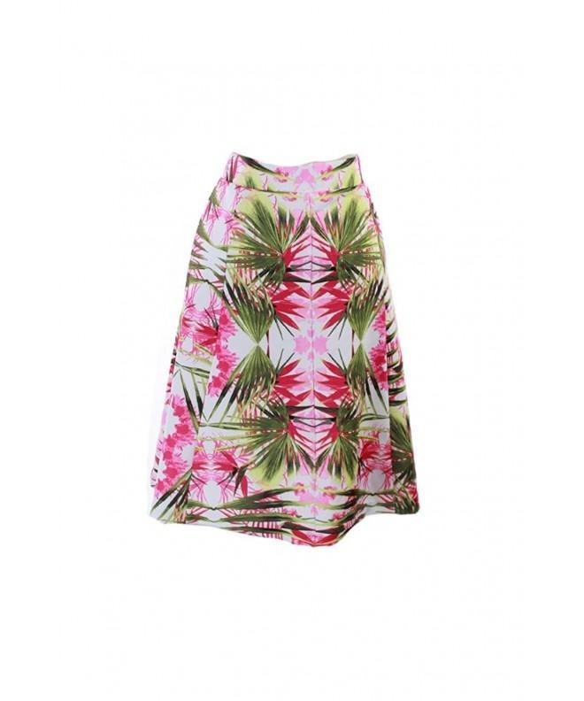 Womens Tropical Print Knee Length Line