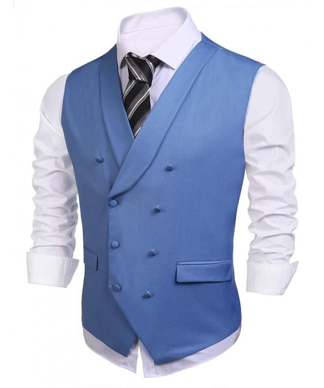 COOFANDY V Neck Waistcoat Double Breasted