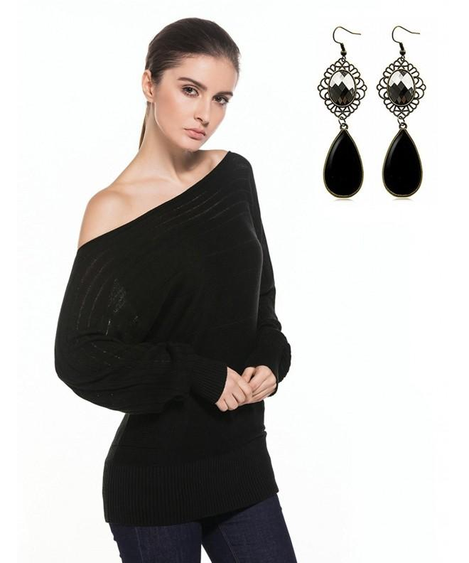 Sitengle Shoulder Batwing Pullover Sweater