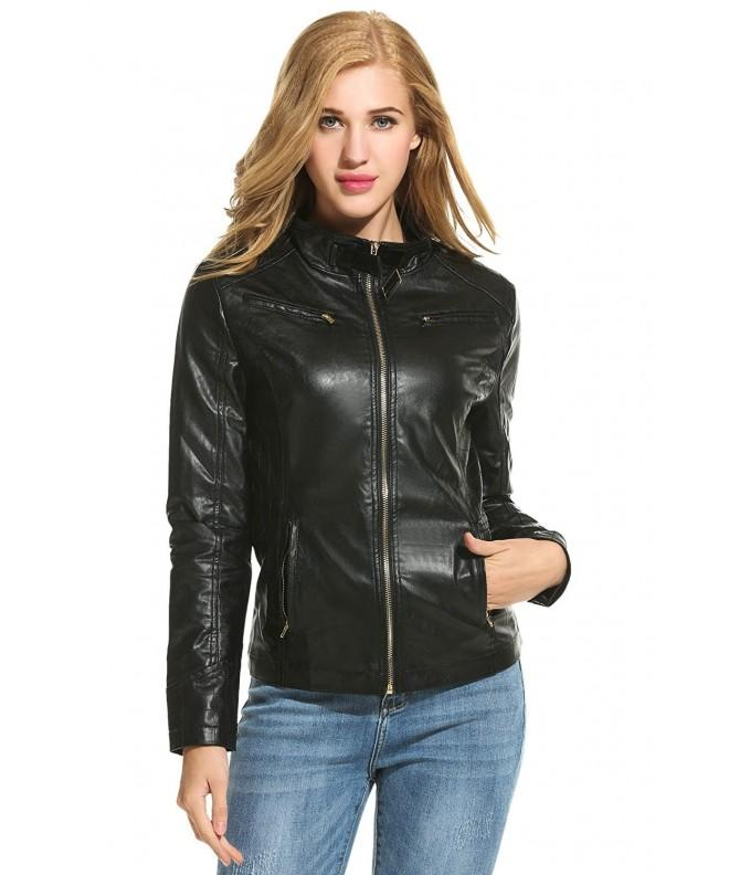 HOTOUCH Womens Vegan Leather Jacket