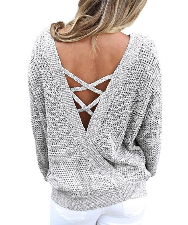 Asvivid Crisscross Oversized Knitted Sweater