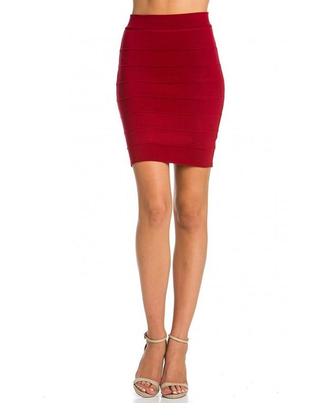 Bandage Bodycon Stretch Pencil BURGUNDY