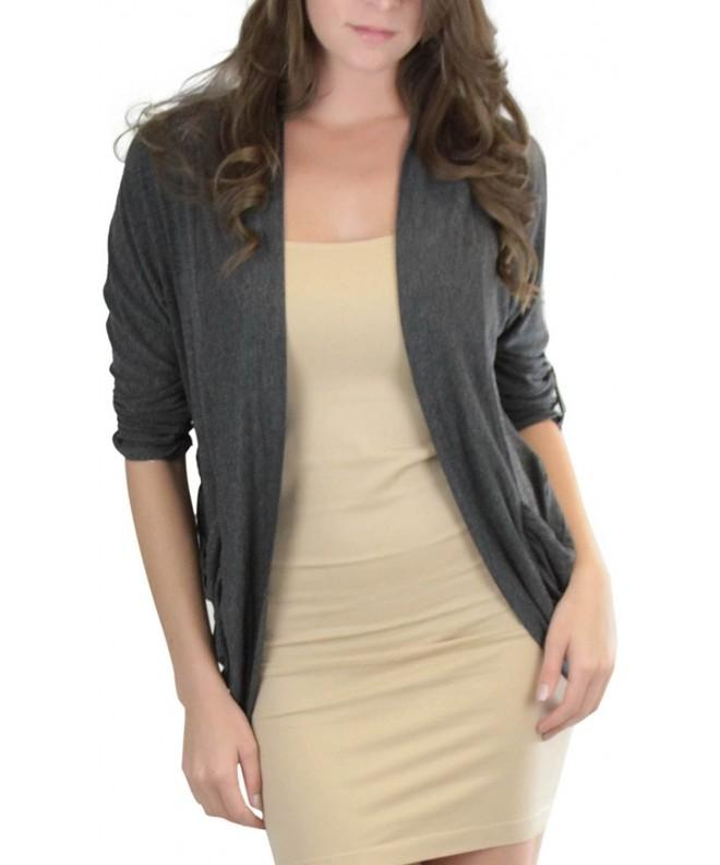 ToBeInStyle Womens Charcoal Roll Up Cardigan
