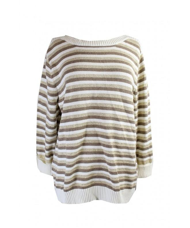 Karen Scott Metallic Striped Pullover