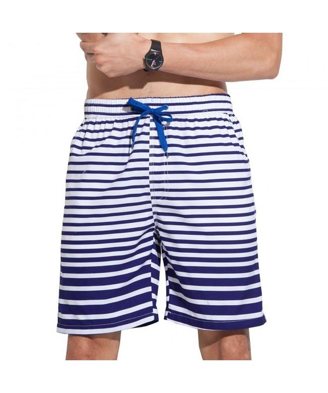 ALiberSoul Mens White Stripes Boardshorts