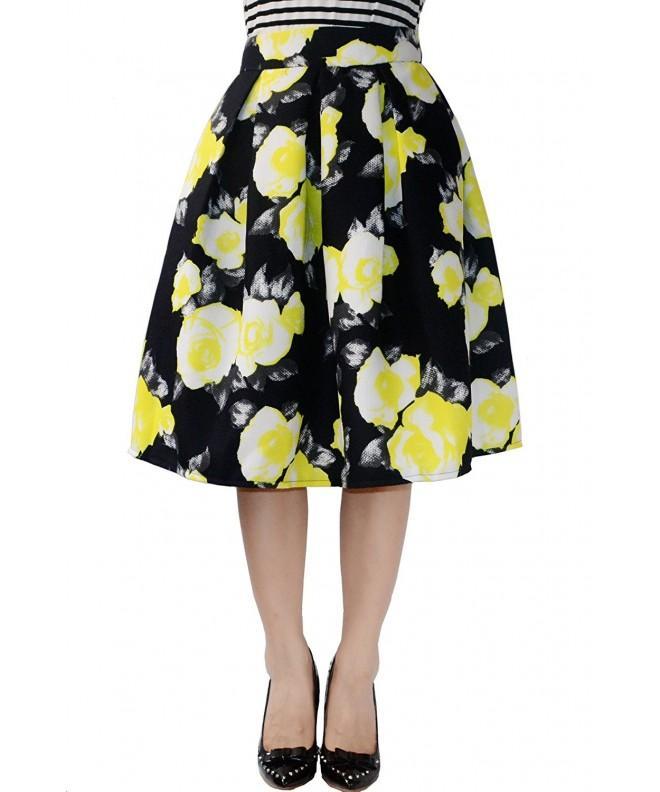 YSJ Womens Pleated Yellow Flower