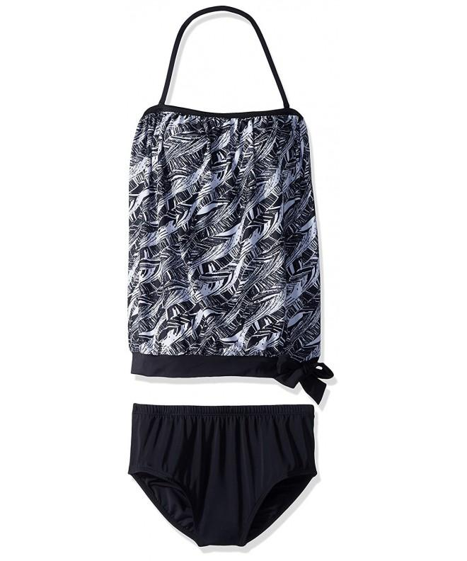 Black Bandeau Blouson Tankini Swimsuit