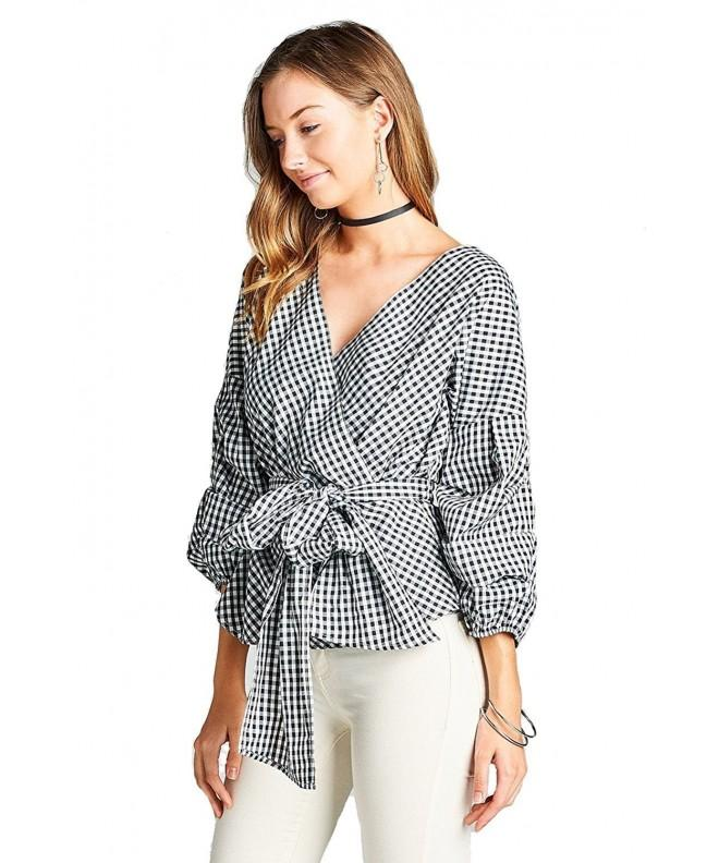 Khanomak Gingham Ruched Sleeve Surplice