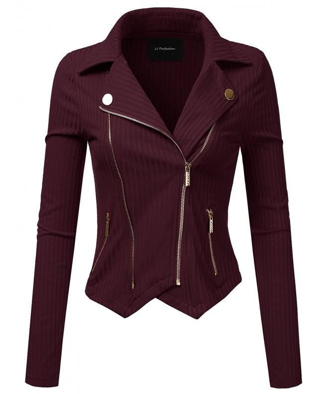 JJ Perfection Womens Outerwear Burgundy