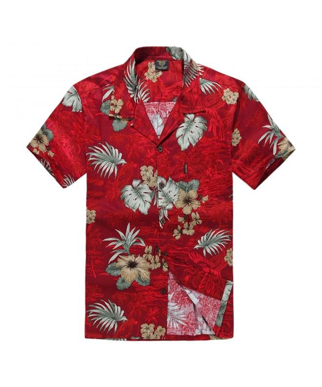 Palm Wave Hawaiian Shirt Burgundy