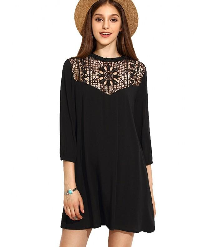 Floerns Womens Sleeve Crochet Hollow