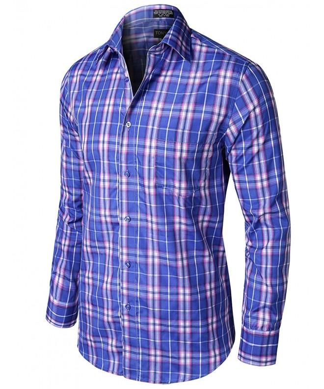 Stylish Checkered Sleeve Shirts Royal_Purple