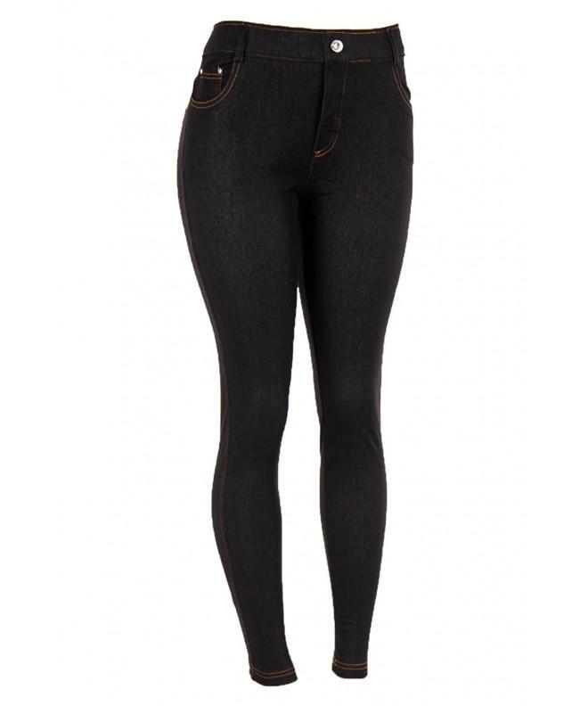 Yelete Womens Pocket Jeggings L XL Black