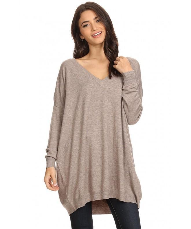 Womens Oversized V Neck Sweater Pullover