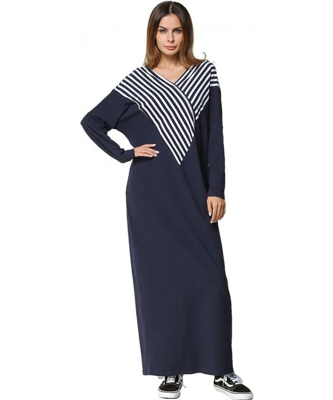 Ababalaya Womens V Neck Stripe Pajamas