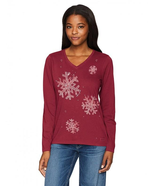 Life Crusher Snowflake T Shirt Cranberry