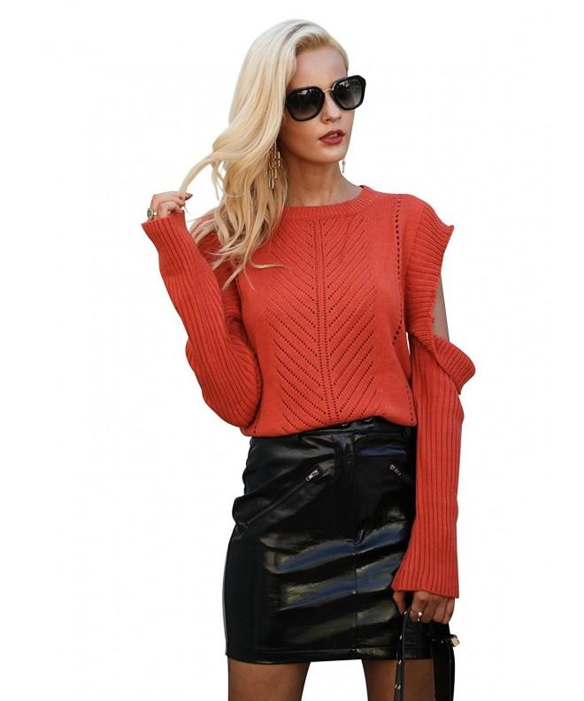 Simplee Shoulder Pullover Sweater Tangerine
