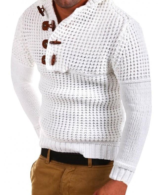 Hooded Pullover Henley Sweater Outwear
