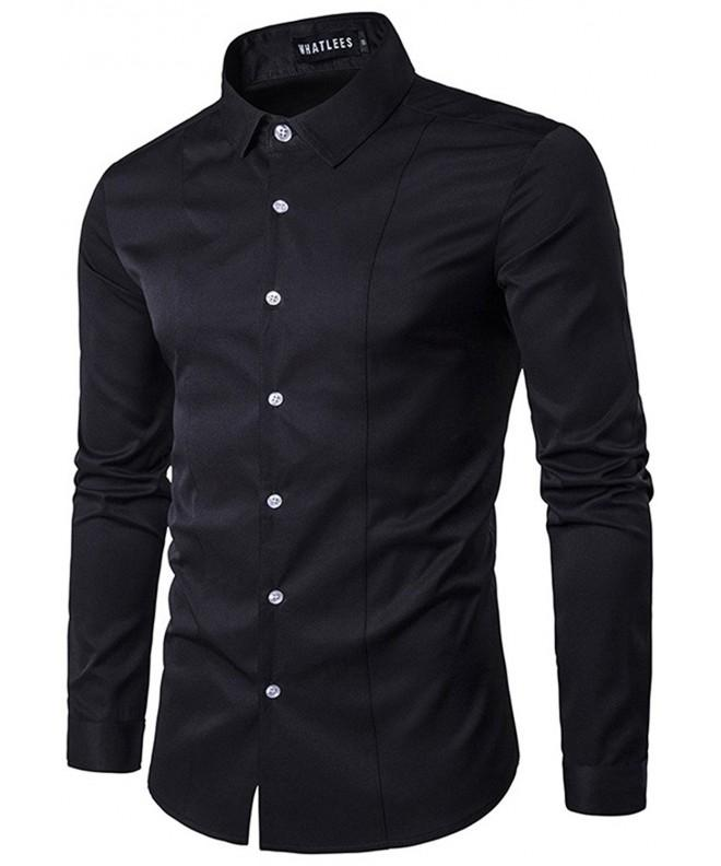 Whatlees Solid Sleeve Button B405 Black M