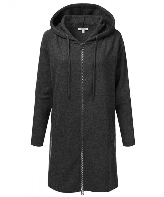 Doublju Oversized Longline Zip Up Charcoal