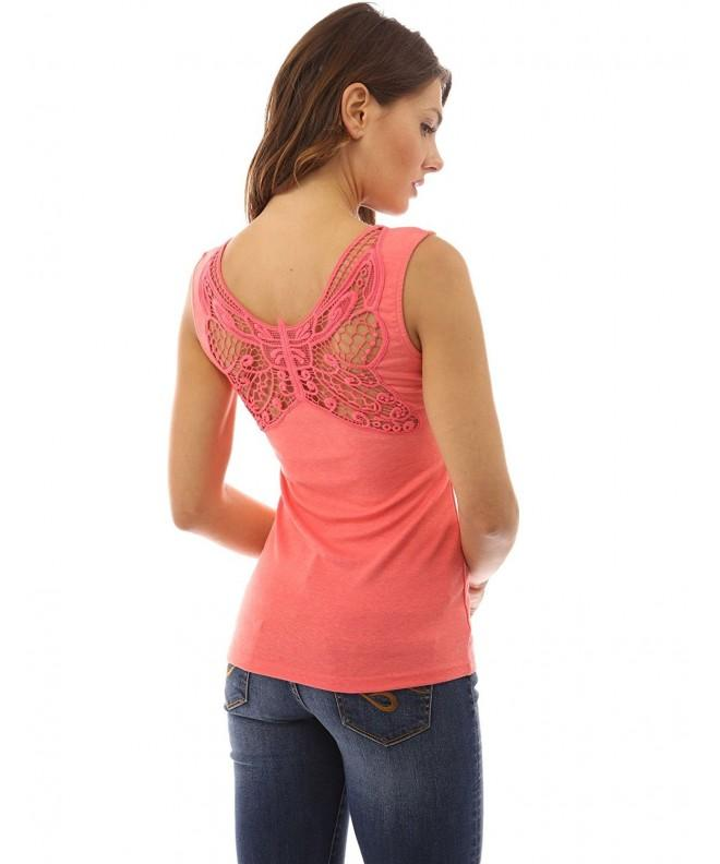 PattyBoutik Womens Butterfly Lace Coral