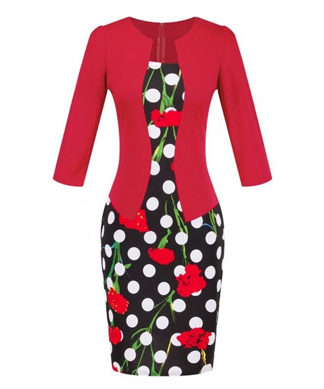 YMING Womens Floral Business Bodycon