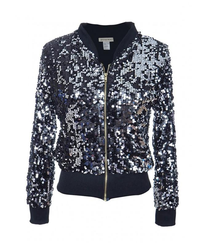 Anna Kaci Womens Sequin Sleeve Jacket
