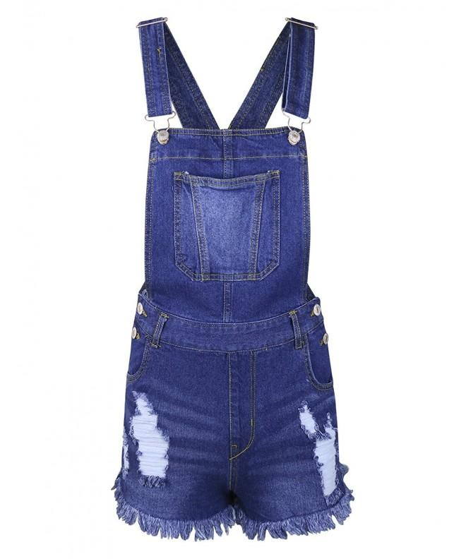 makeitmint Distressed Overall Shortall YOO0001 BLUE SML